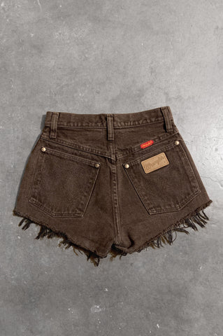 Vintage Wrangler Denim Cut Off Shorts in Brown - Size 24 - One More Chance Vintage