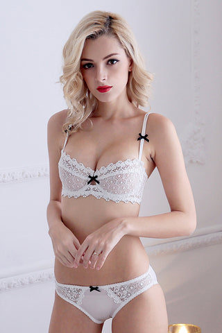 Embroidery Bra Set Underwear,Sexy Transparent 1/2 Cup Brassiere and Lace Panty Set For Women