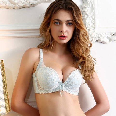 bow lace embroidery push up bra sexy women underwear sets for girls bra and panty set beige and light blue A,B,C cup