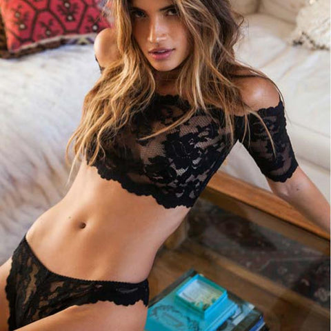 2016 New Sexy lingerie hot  black lace perspective bra+ thongs lingerie set Micro Bikini Word shoulder lenceria erotic lingerie - Panties Express Swimwear, Panties, Bras, Garters, Stockings for men & women