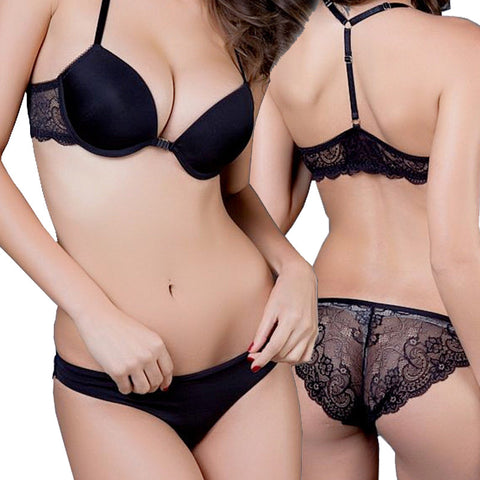 Luxurious Elegance Bra And Panty Set Y-line Underwear Lace Push Up - Panties Express - 1