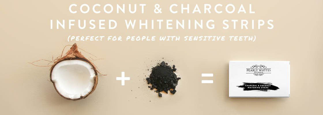 Natural teeth whitening coconut and charcoal strips