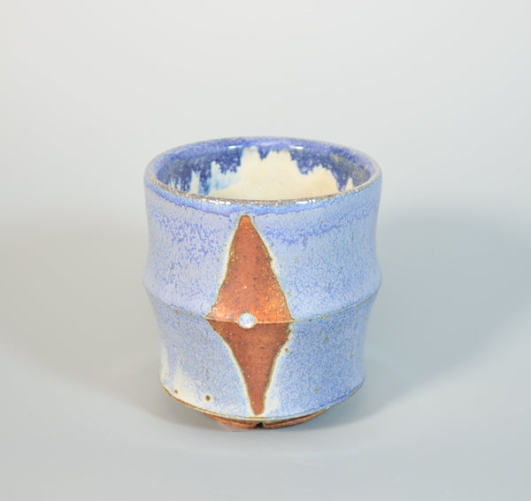 Blue and Brown Round Tea Cup