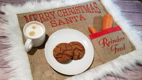 Santa Snack Mat Milk and Cookies Burlap