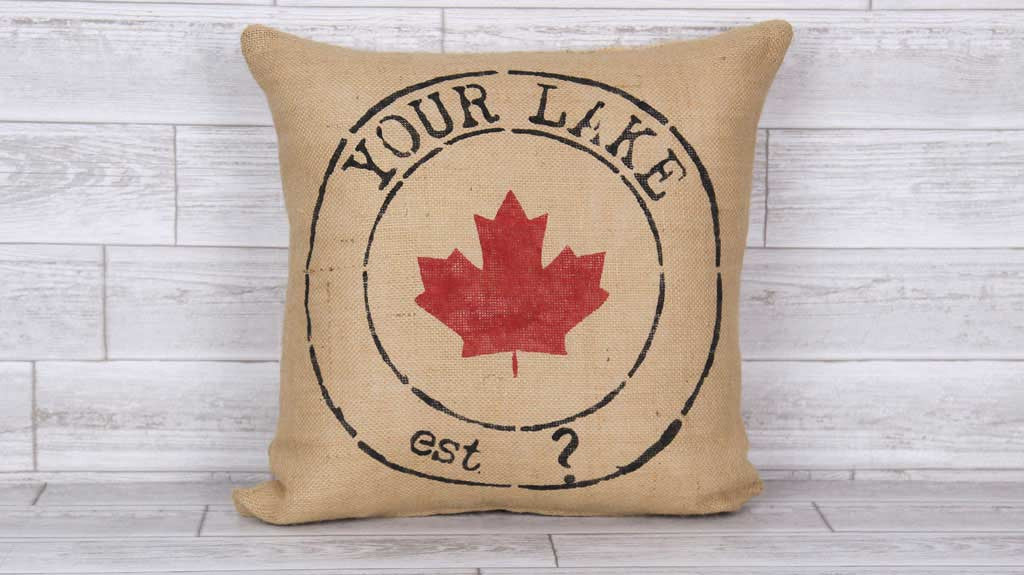 Premium Burlap Town Flair Pillow Your Lake