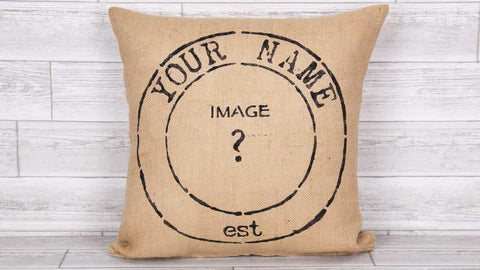 Premium Burlap Flair Pillow Your Name