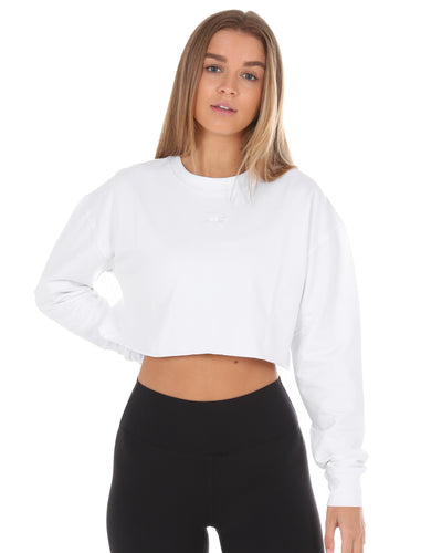 EE Cropped Jumper - White