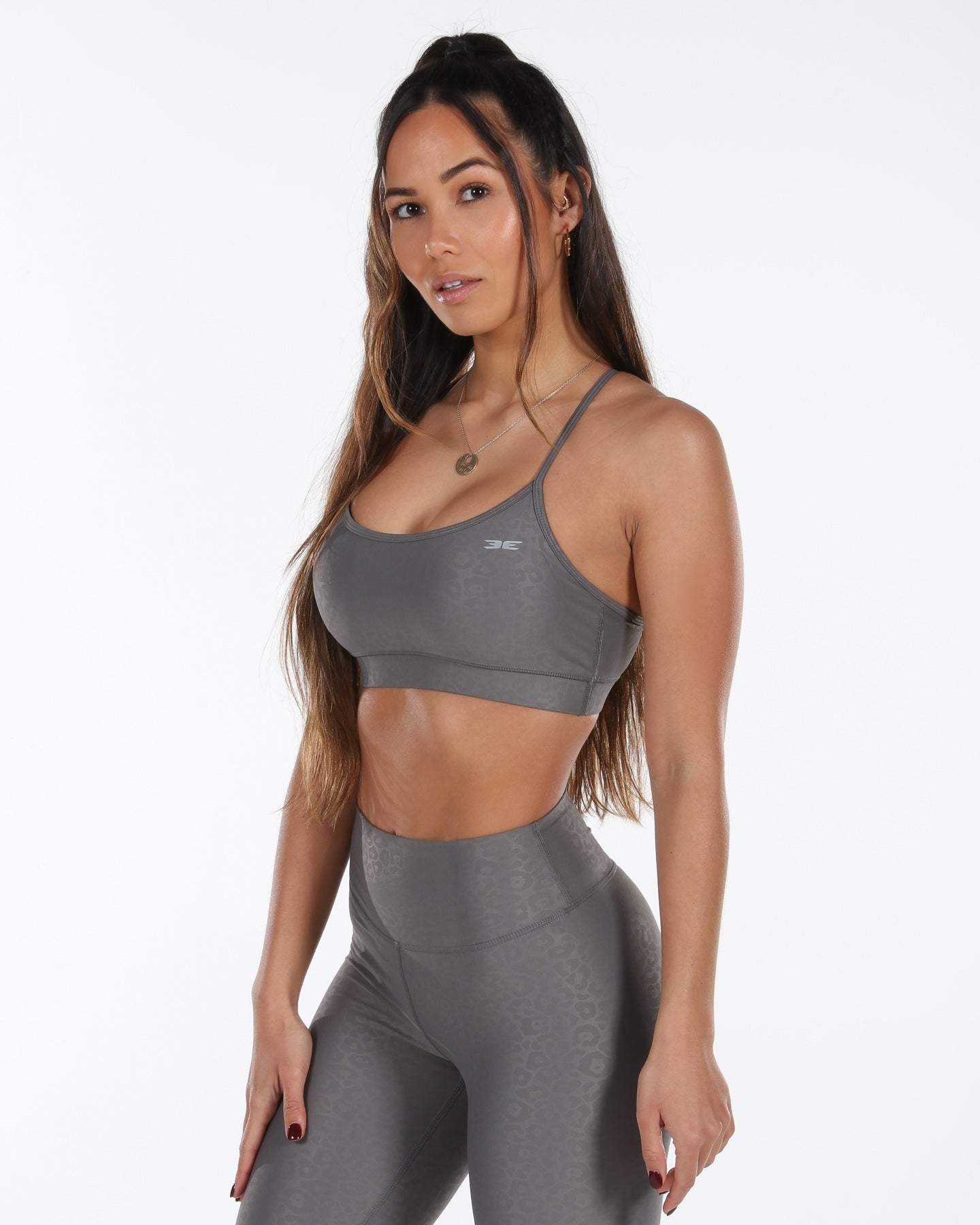 Luxe Leopard Sports Bra - Grey