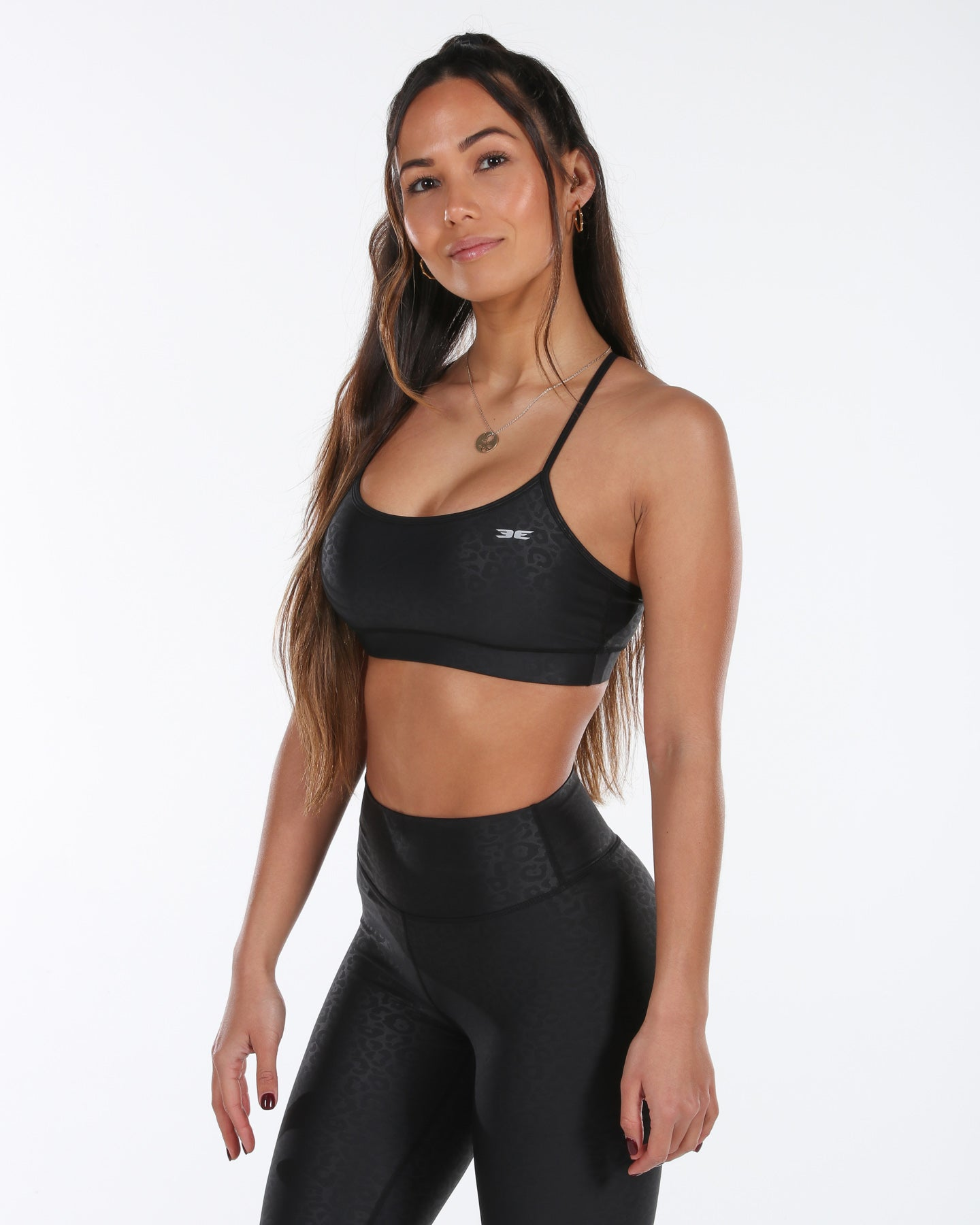 Luxe Leopard Sports Bra - Black
