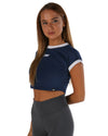 EE Crop Tee - Navy/white