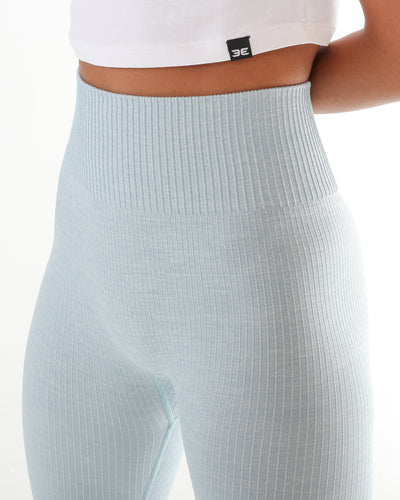 Ribbed Seamless Leggings - Baby Blue