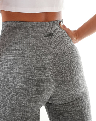 Ribbed Seamless Leggings - Marl Grey