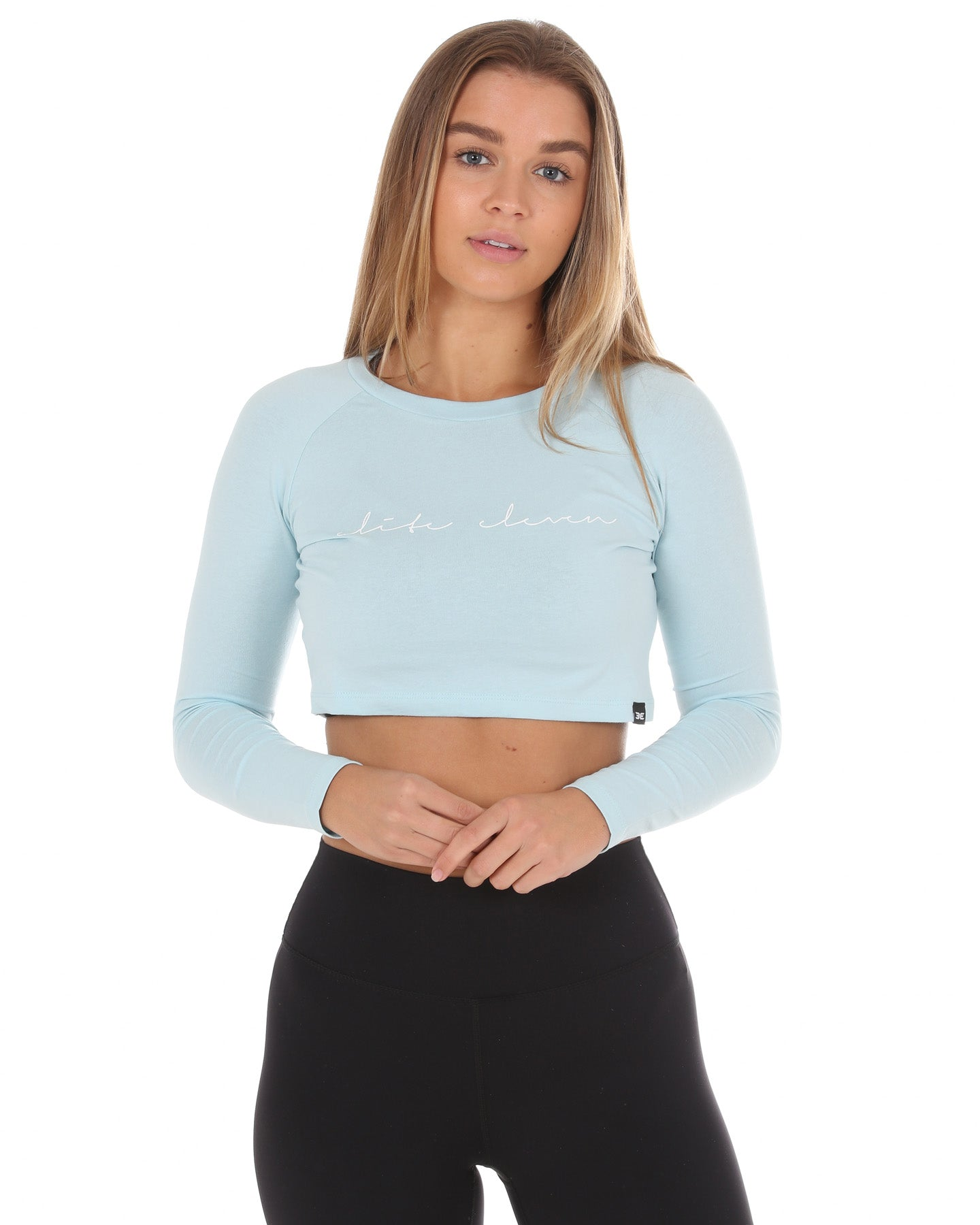 Script Long Sleeve Crop - Pastel Blue