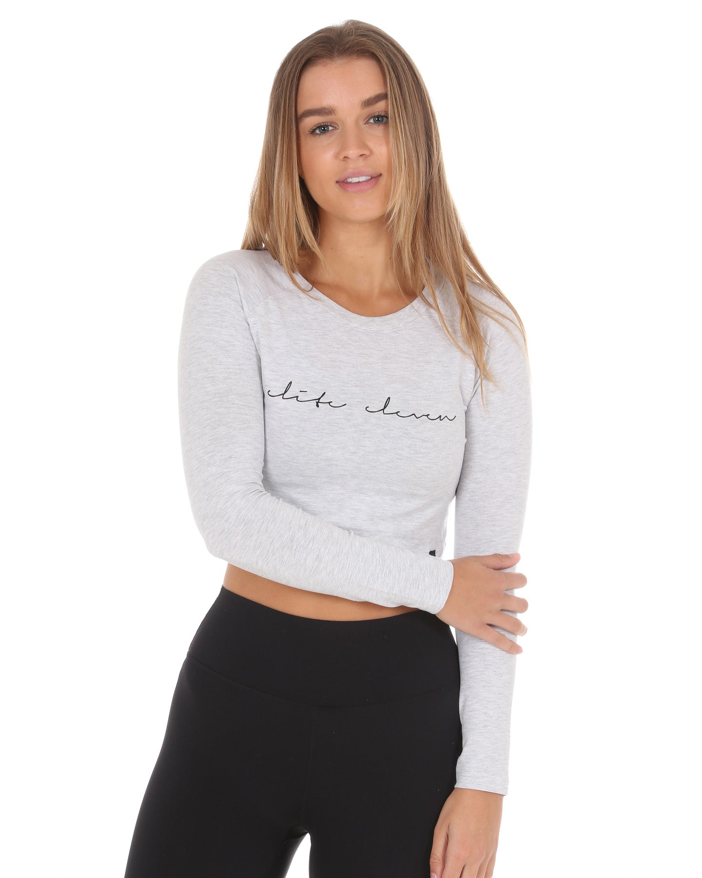 Script Long Sleeve Crop - Grey