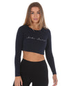 Script Long Sleeve Crop - Navy