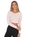 Script Long Sleeve Crop - Pastel Pink