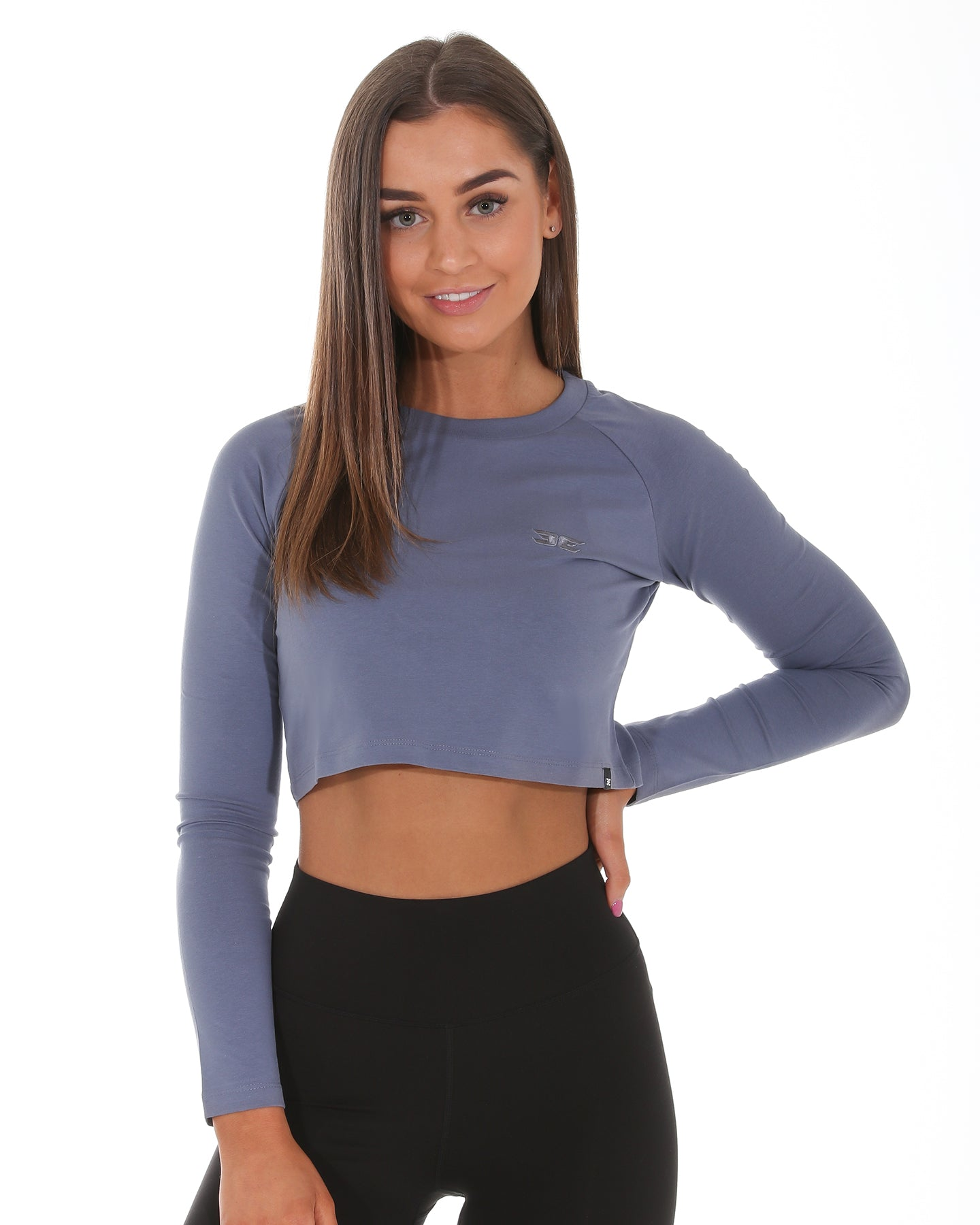 EE Long Sleeve Crop - Steel Blue