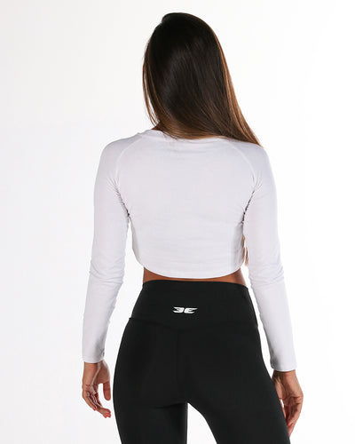 EE Long Sleeve Crop - White