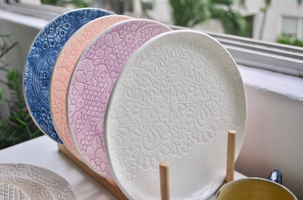 Handmade ceramic lace plate | Singapore pottery gifts