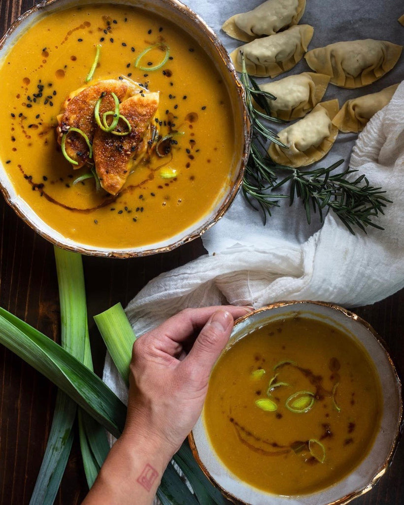 Butternut lentil soup in handmade ceramics | Eat & Sip tableware