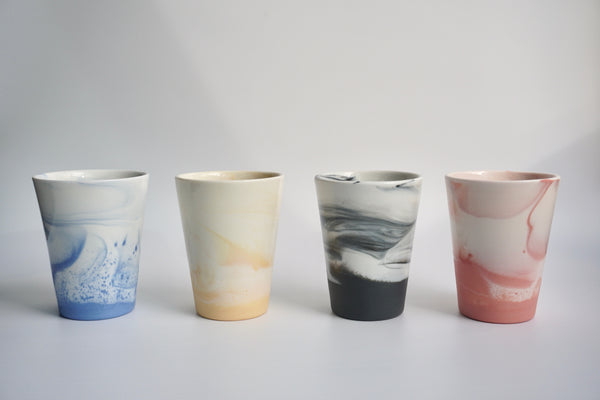 Handmade marbled cups in Singapore | Australian ceramics by Louise Martiensen