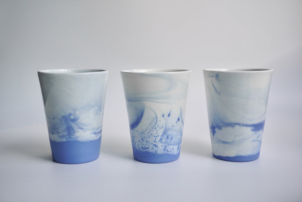 Handmade marbled cups in Singapore | Handcrafted tableware