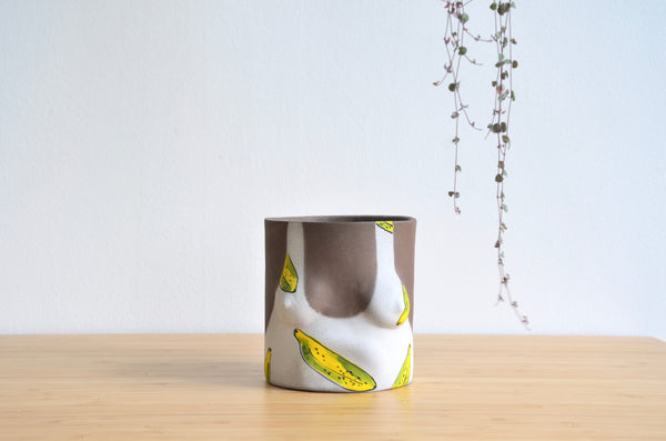 Group Partner Banana female planters in Singapore - handmade slipcast pot