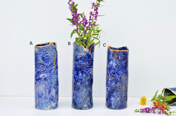 Ceramic handmade wave vase by Amelia Kingston | Singapore pottery