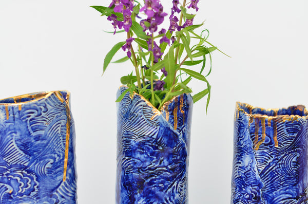 Ceramic handmade wave vase by Amelia Kingston stocked in Singapore