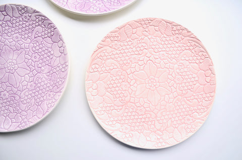 Unique housewarming gifts handmade lace plates - The Tableware Curators