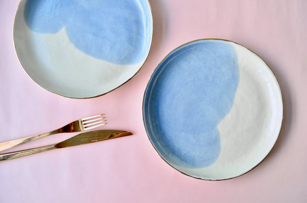 Handmade porcelain plates with gold rim - Eat & Sip ceramics