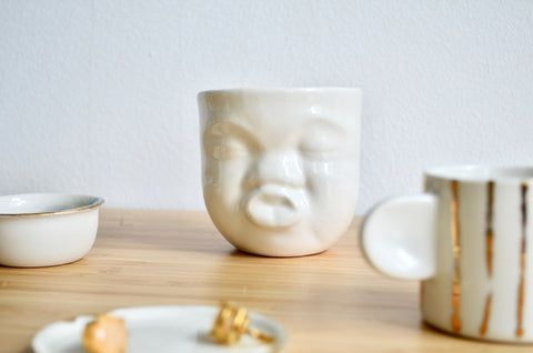 Cute boy porcelain mug | Handcrafted tableware gifts Singapore