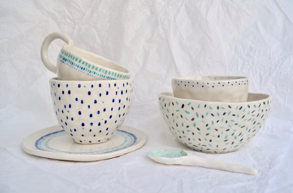 Hand built tableware pottery Eat Sip
