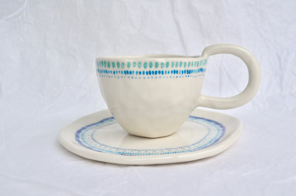Hand pinched and handpainted tea cup, Singapore handmade tableware