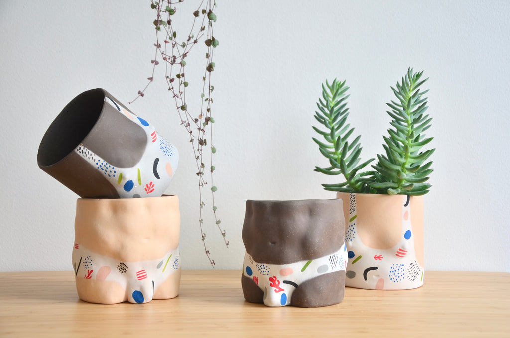 Group Partner confetti boy bottom planters in Singapore - handmade tableware