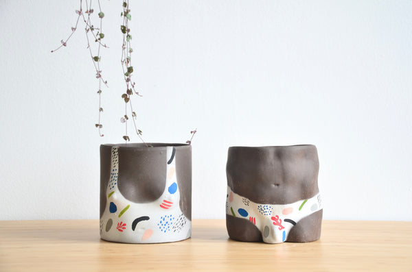 Group Partner confetti top and bottom planters in Singapore - handmade pots