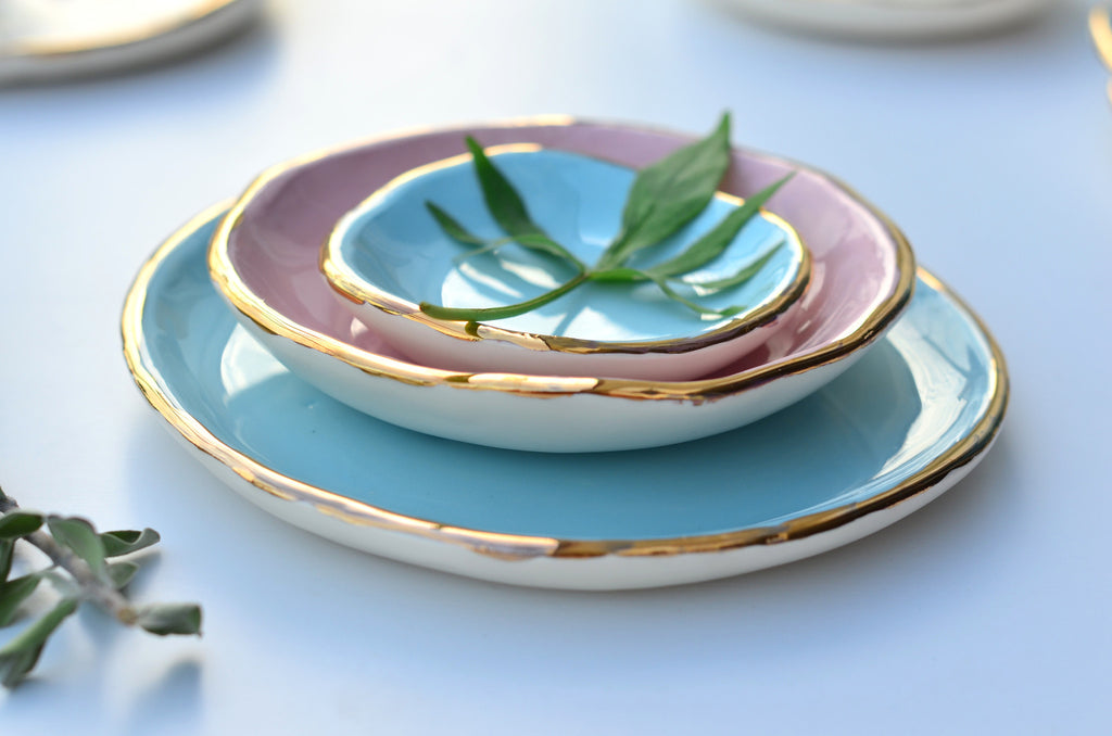 Plates with Gold rim - Handcrafted unique gift
