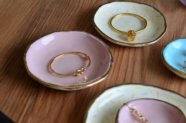Watercolour dish plates with gold rim handcrafted