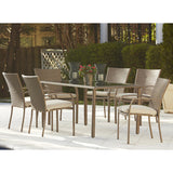 Modern Patio 7 Piece Dining Set, tempered glass and cushions. - Clever and Modern gadgets and furniture for your home and office.