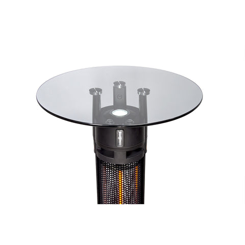 2-in-1 Round Glass Table With Plug-In Heater