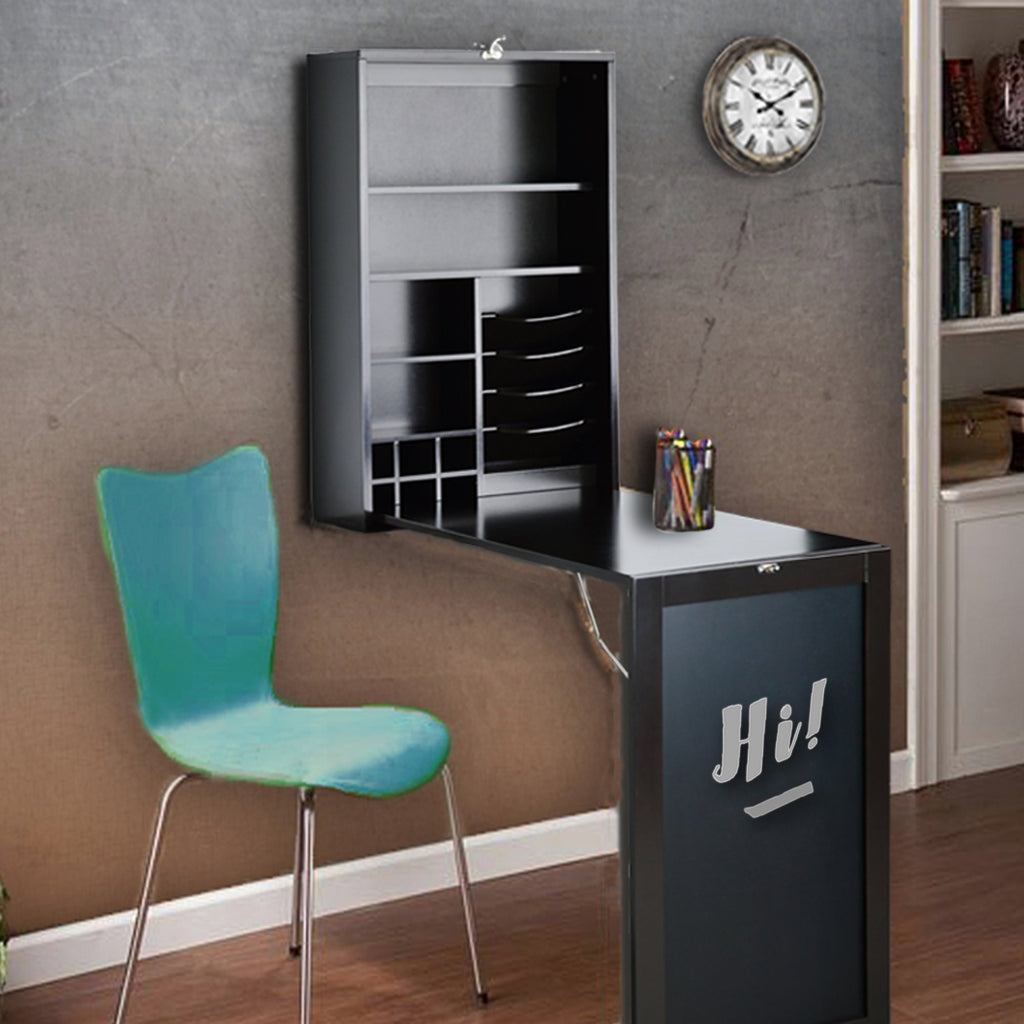 All Purpose Fold Down Table Desk Black Table/Wall Cabinet with Chalkboard Collapsible Fold Down - Clever and Modern Home and office furniture. Pet Furniture