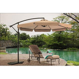 Beige Patio Red Umbrella 10' With Mosquito Netting/Canopy