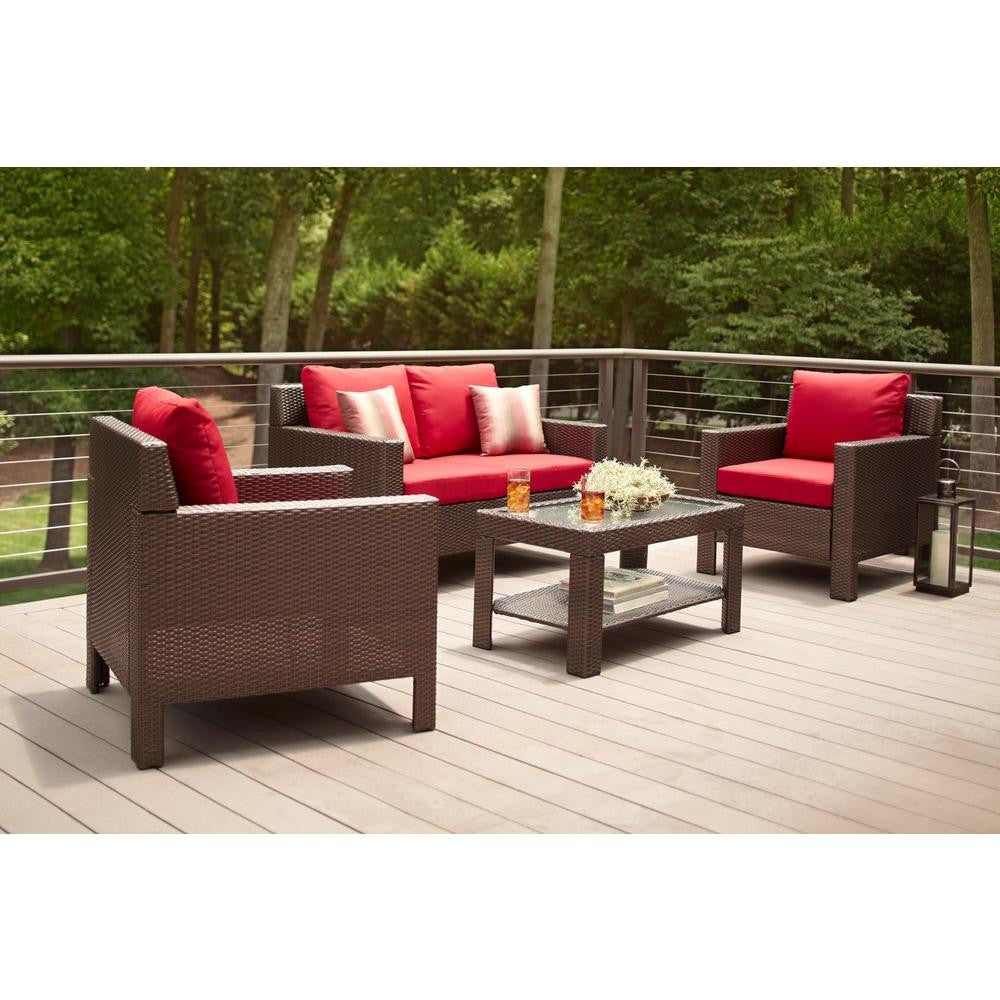 Beverly 4-Piece Patio Deep Seating Set With Red Cushions