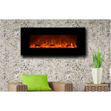 "Black Modern 50"" Mount Electric Fireplace"