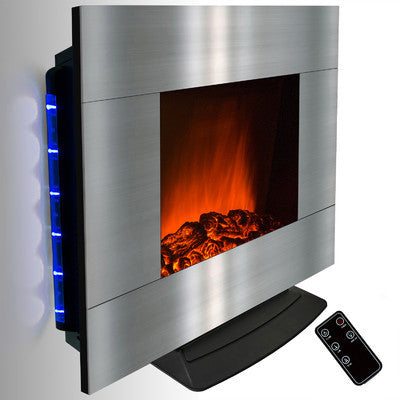 C & M 36in Curved Wall Mount Electric Fireplace on Silver colour - Clever and Modern gadgets and furniture for your home and office.