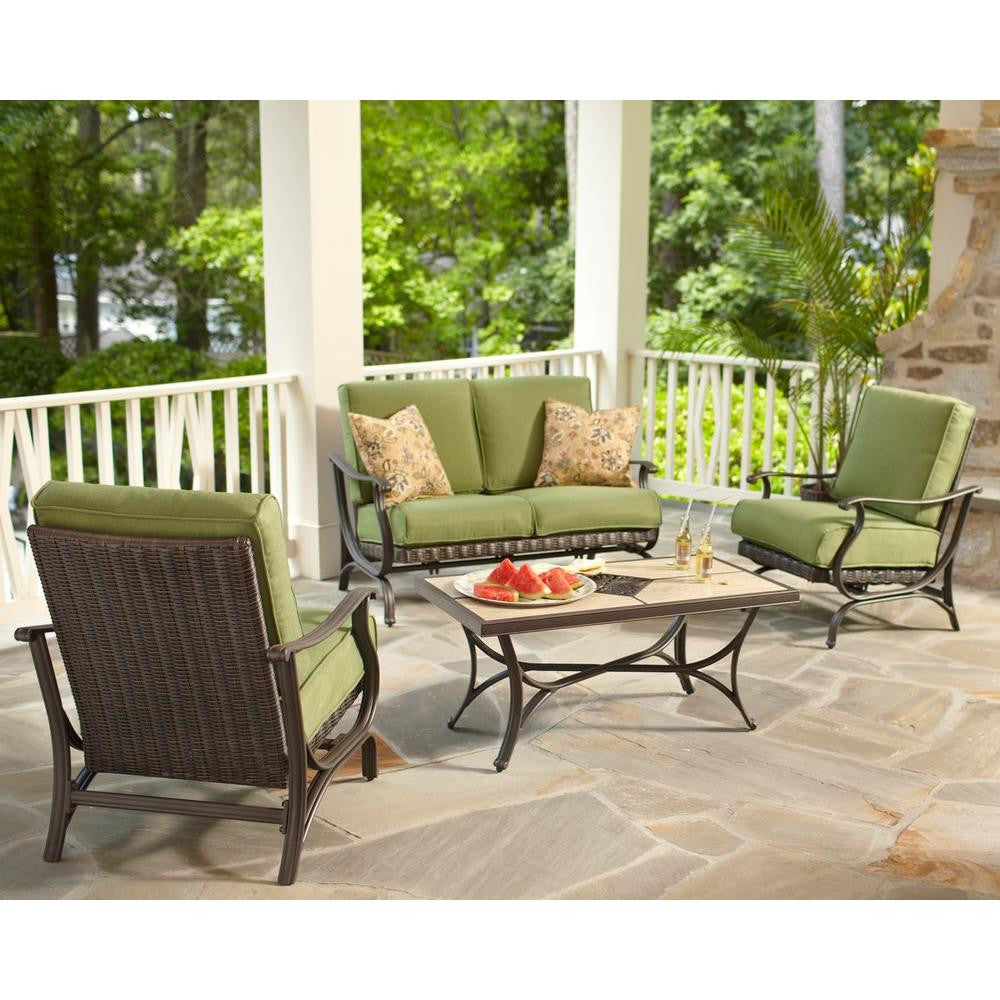 Classic 4-Piece All-Weather Wicker Patio Conversation Set with green Cushions - Clever and Modern Home and office furniture. Pet Furniture