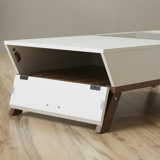 C & M Trapezoid Coffee Table In Brown Or White - Clever and Modern Home and office furniture. Pet Furniture