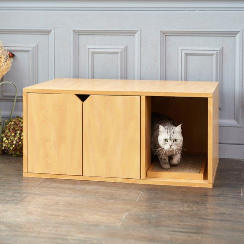 Multi Use Hidden Litter Box With Scratch Pad   Clever And Modern Home And  Office