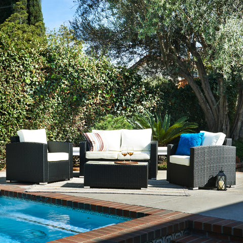Elegant 4 Seating Patio Set With Cushion, Sofa with Table - Clever and Modern Home and office furniture. Pet Furniture