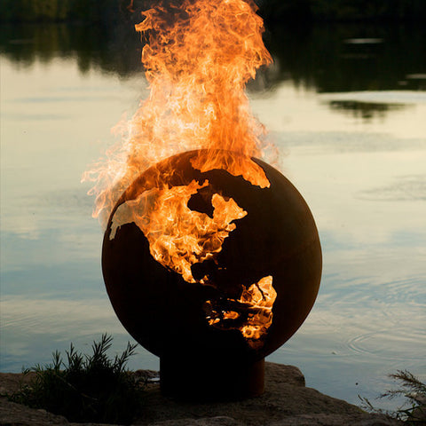 "Unique Wood Fire Pit ""The world on Fire"" - Clever and Modern Home and office furniture. Pet Furniture"